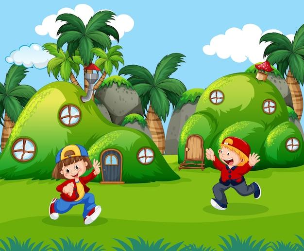 Bambini che giocano in terra fantastica