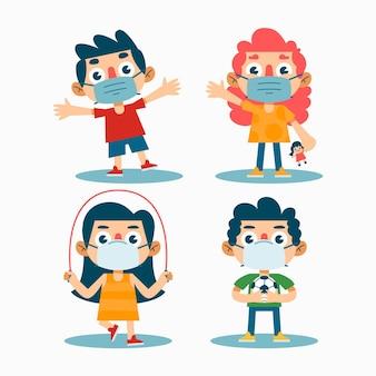 Bambini che giocano indossando maschera medica