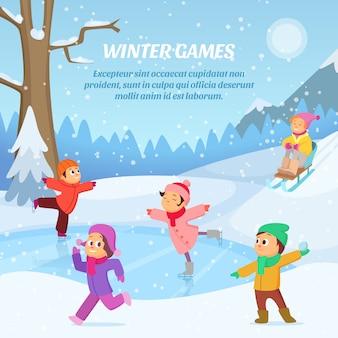 Bambini che giocano nei giochi invernali sul parco giochi.