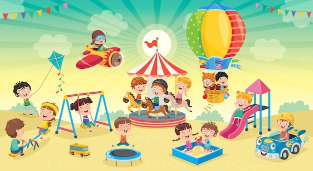Bambini che giocano nel parco
