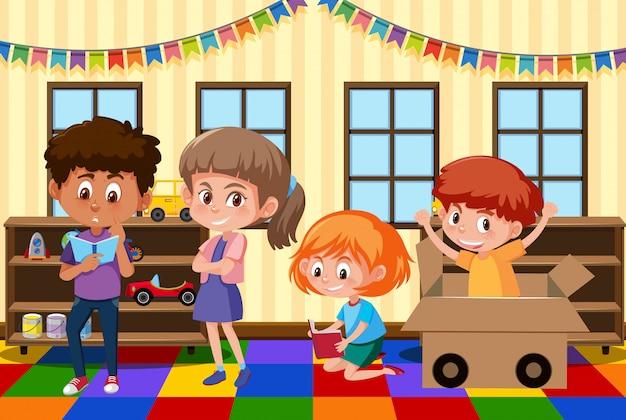 Bambini che giocano nella stanza dei giochi