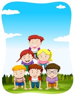 Bambini che giocano piramide umana nell'illustrazione parco