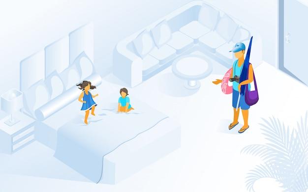 Bambini che giocano sull'illustrazione della camera d'albergo del letto