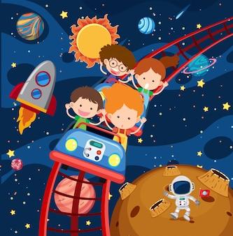 Bambini che guidano montagne russe nello spazio