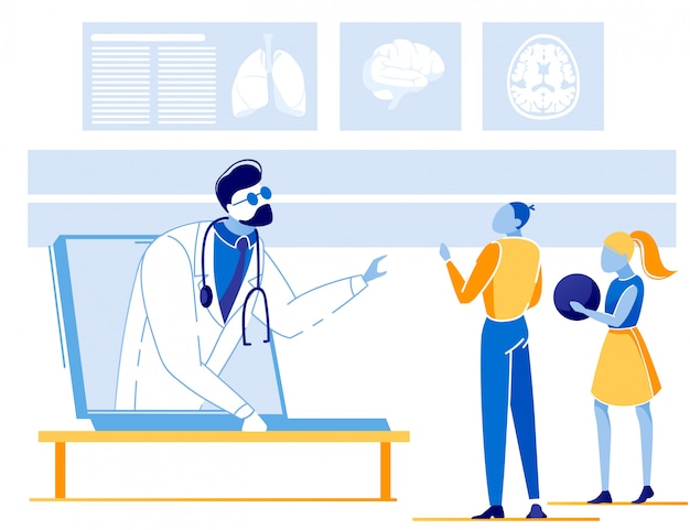 Bambini che hanno consultazioni online con il medico