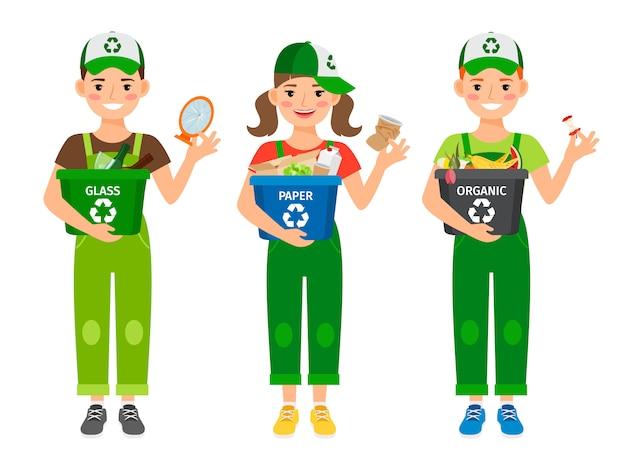 Bambini che imparano le icone di riciclaggio dei rifiuti su bianco