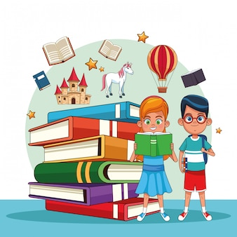 Bambini che leggono fiabe
