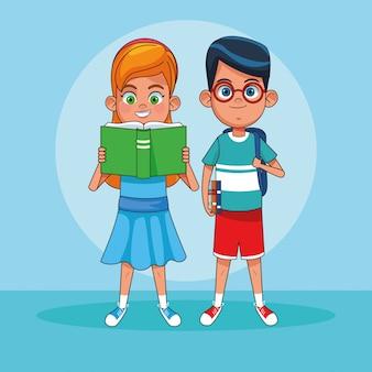 Bambini che leggono i cartoni dei libri