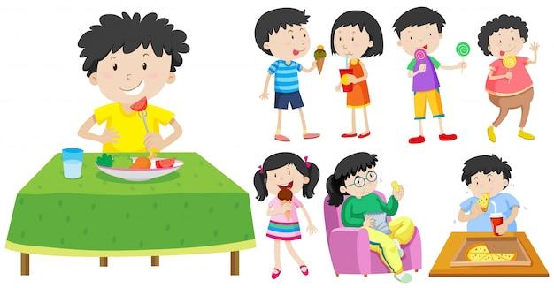 Bambini che mangiano illustrazione alimentare sana e non sani