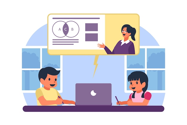 Bambini che prendono lezioni online