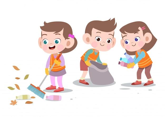 Bambini che puliscono l'illustrazione di vettore isolata