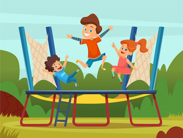 Bambini che saltano sul trampolino. giochi attivi dei bambini sull'illustrazione del fumetto del campo da giuoco.