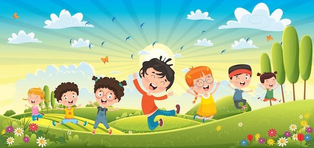 Bambini che si divertono al paesaggio primaverile