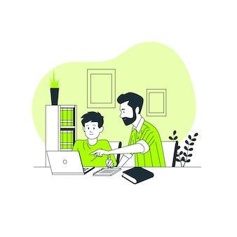 Bambini che studiano dall'illustrazione domestica di concetto