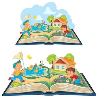 Bambini che studiano la natura come un libro aperto