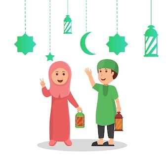 Bambini che tengono la cartolina d'auguri dell'illustrazione del ramadan della lanterna