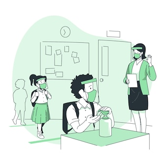 Bambini che utilizzano disinfettante per le mani all'illustrazione del concetto di scuola