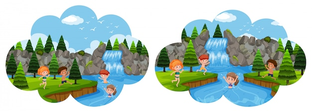 Bambini che vanno in vacanza in cascata