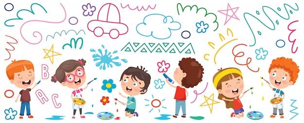 Bambini che verniciano bandiera