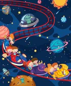 Bambini che viaggiano in treno spaziale