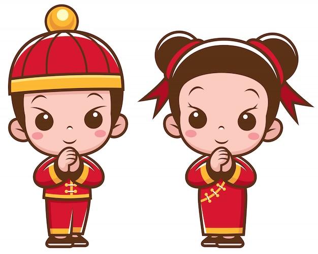 Bambini cinesi dei cartoni animati