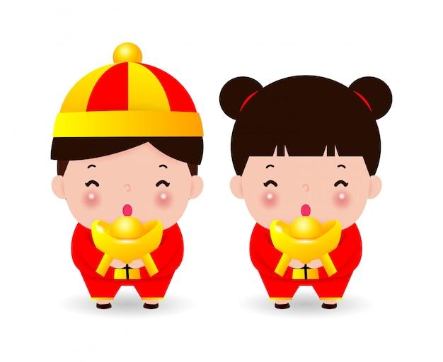 Bambini cinesi felici che salutano, ragazzo e ragazza in costume cinese, buon anno cinese