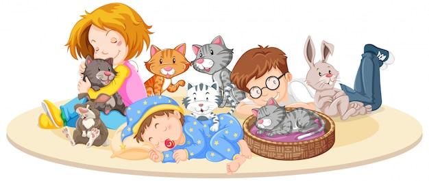 Bambini con animali su isolato