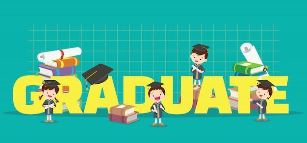 Bambini con banner di laurea