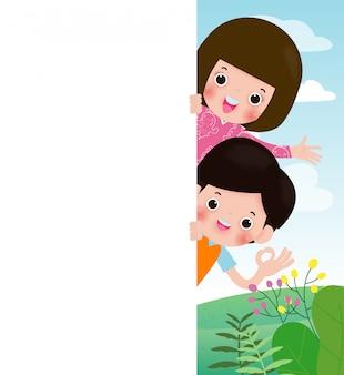 Bambini con cartello, bambini che sbirciano dietro il cartello, bambini felici, bambini svegli su sfondo, illustrazione vettoriale