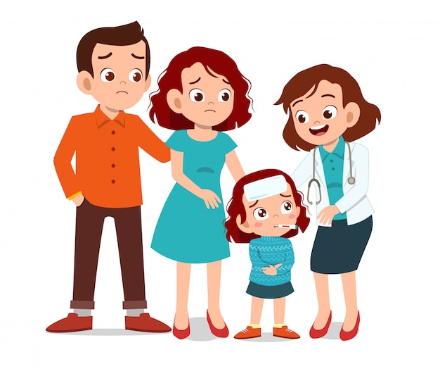 Bambini con esame medico dei genitori