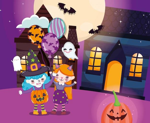 Bambini con il costume di halloween