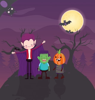 Bambini con immagine di halloween in costume
