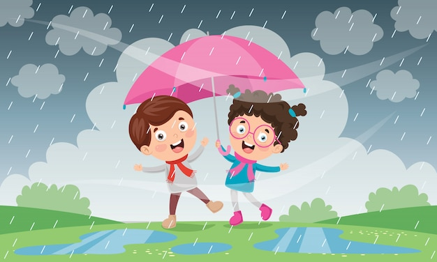 Bambini con l'ombrello sotto la pioggia