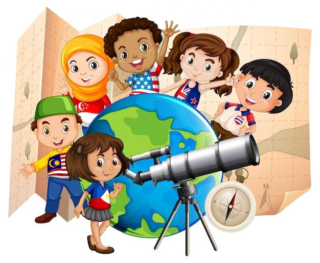 Bambini con telescopio e mappa del mondo