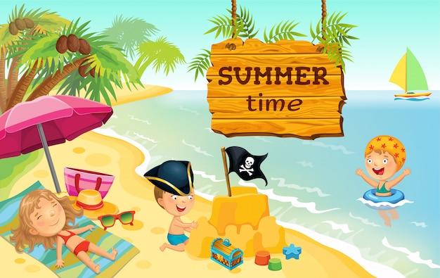 Bambini del fumetto che giocano sull'illustrazione della spiaggia
