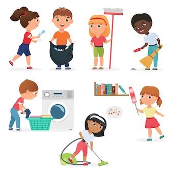 Bambini del fumetto che puliscono a casa insieme. bambini in varie posizioni di pulizia.