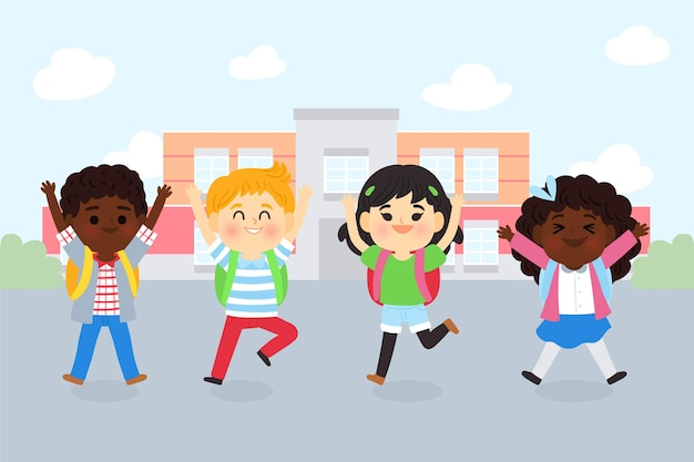 Bambini del fumetto di nuovo al concetto di scuola