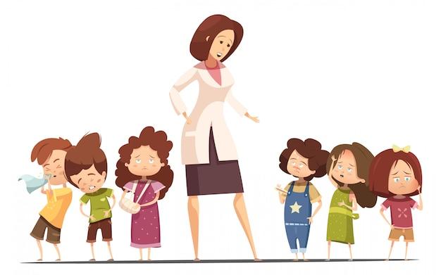 Bambini dell'asilo di piccolo gruppo con intossicazione alimentare e sintomi influenzali e infermieri che prendono i bambini a tempera