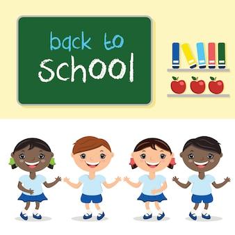 Bambini dell'illustrazione nella classe di scuola, con il consiglio scolastico. con il testo a scuola.