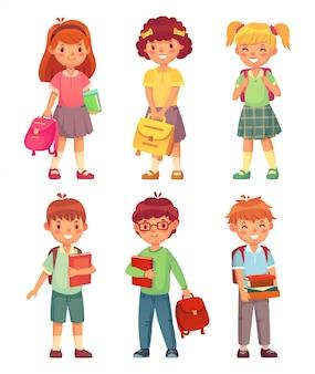 Bambini della scuola elementare. allievo felice della ragazza e del ragazzo nell'insieme dell'uniforme delle scuole