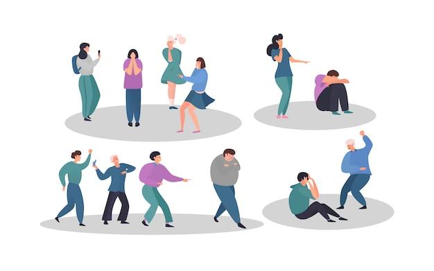 Bambini di bullismo nei personaggi dei cartoni animati aggressivi degli adolescenti della scuola, ragazzi e ragazze tristi, illustrazione.
