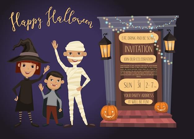 Bambini di cardwith dell'invito della festa di halloween in costumi