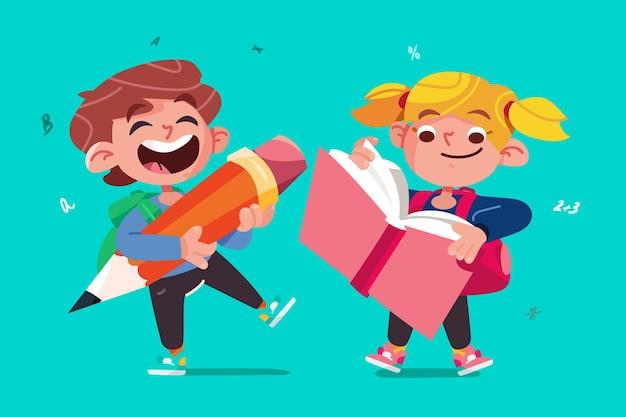 Bambini di design piatto tornano a scuola