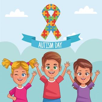 Bambini di giornata mondiale dell'autismo con nastro puzzle