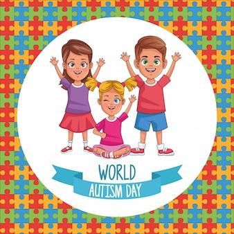 Bambini di giornata mondiale dell'autismo con pezzi di puzzle illustrazione vettoriale design