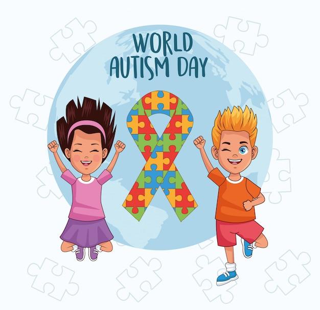 Bambini di giornata mondiale dell'autismo con puzzle pianeta e nastro mondo