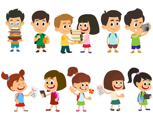 Bambini di scuola felice carattere vettoriale.