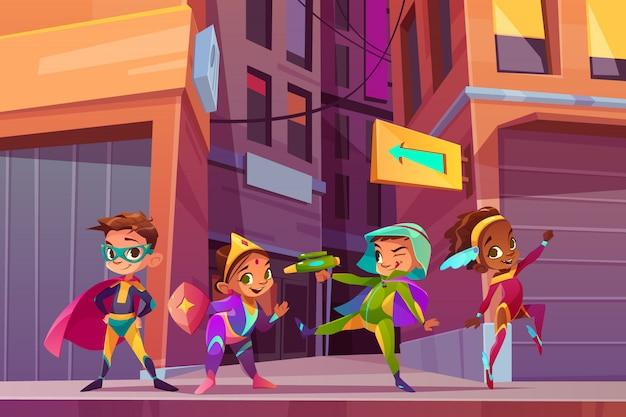 Bambini di supereroi sul concetto di vettore del fumetto della via della città con sorridere felice