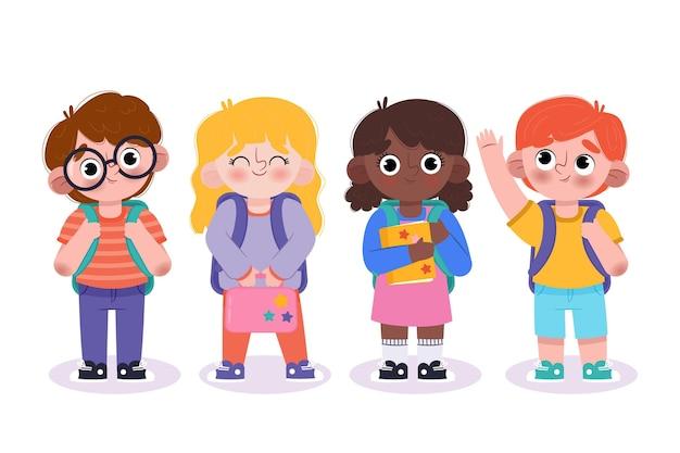 Bambini disegnati a mano a scuola
