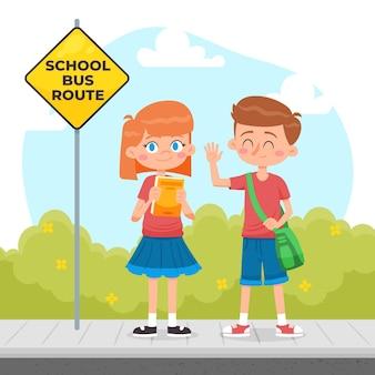 Bambini disegnati a mano che vanno a scuola